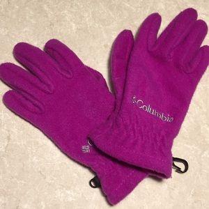 Columbia pink fuchsia fleece gloves youth small